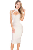 Apricot High Neck Hollow-out Bandage Dress