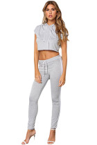 Grey Double Stripe Hoodie Crop Top Jopgger Pant Set