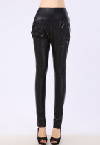 High Waist Leather Harem Pants