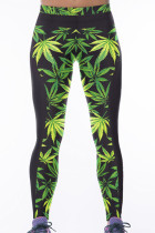 Green Leaf Print Stretch Yoga Pants