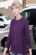 Purple Ribbon Tulle Back Overlay Pullover Sweater
