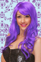 Long Wig with Wave Curls And Face Frame Bangs Purple