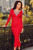 Red Ribbed Bodycon Long Sleeve Back Slit Sweater Dress