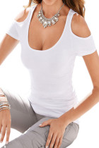 White Scoop Neck Cold Shoulder Stylish T-shirt