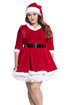 Maribou Trim Sweetheart Neck Plus Miss Santa Dress Costume
