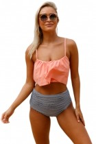 Glowing Top and Striped Bottom High Waist Swimwear