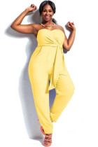 Yellow Plus Size Strapless Jumpsuit