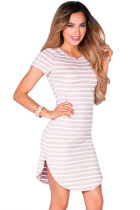 Pink White Striped Short Sleeve Tunic Sexy Short T Shirt Dress