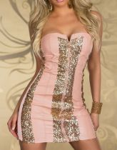Pink Party Dress Sexy Low-cut  Waist Sequins Club Dresses