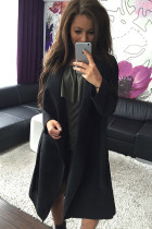 Black Self Tie Turn Down Collar Long Sleeve Trench Coat