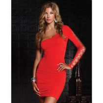 Red One Sleeve Open Shoulder Mini Dress Sexy Clubwear