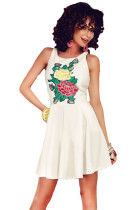White Embroidered Floral Skater Dress