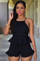 Black Blush Ruffle Textured Short Set