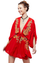 Elegant Floral Embroidery Red Crepe Beach Dress