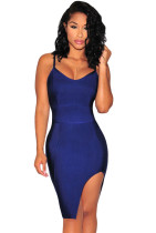 Navy Blue Slit Thigh Bandage Dress