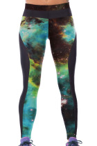 Green Galaxy Printed Tight Sport Leggings