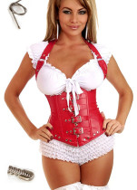 Hot Red Steel Bone Latex Under Bust Leather Corset (S-6XL)