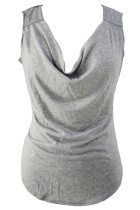 Grey Cowl Neck Casual Tank Top