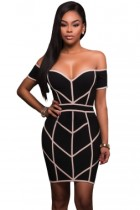 Black Nude Trim Bodycon Off Shoulder Dress