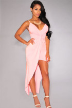 Pink Knotted Front High-Low Jersey Dress