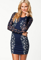 Sexy Navy Color Block Lace Vintage Dress