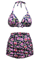Floral Print Navy Retro High Waist 2 Pieces Swimsuits