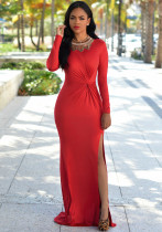Red Knotted Front Long Sleeves Gown