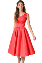 Red Scallop Neck Cinched Waist Ladylike Vintage Dress