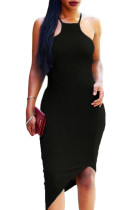Black Oblique Hem Spaghetti Strap Bodycon Dress