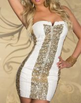 Sexy Low-cut  Waist Sequins Club Dresses White