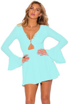 Light Blue Long Bell Sleeve Neck A Line Dress