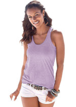 Purple Knot Back Casual Tank Top