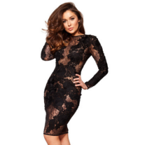 Black sexy clubwear lace club dress long sleeve women dress