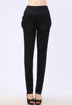 Black Pull On Full Length Harem Pants