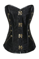 Plus Size Black Steampunk Style Over Bust Corset with Chain