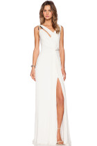 White Draped Cowl Back Gown Sleeveless Jersey Maxi