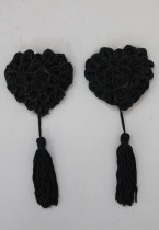 1 Pair Black Lucky Shape Pasties with Tassels