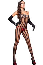Black Sheer Vertical Striped Bodystocking