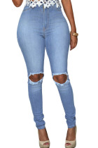 Light Blue Wash Ripped Knee Hole Skinny Jeans