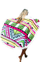 Glowing Colorful Geometric Pattern Vacation Round Beach Towel