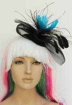 Feathers Blue Mini Top Hat