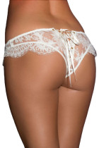 White Ribbon Lace Up Bridal Lace Thong