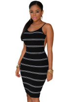 Black White Stripes Open Back Bodycon Dress