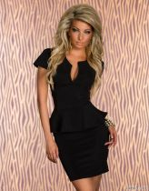 U-neck OL Peplum Dress Black