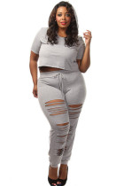 Plus Size Solid Gray Crop Top & Slit Pant Set