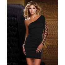 Black One Sleeve Open Shoulder Mini Dress Sexy Clubwear