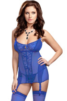 Royal Blue Lace Me up Garter Chemise Set with G-String