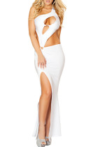 Best Assets White Cut Out Maxi Jersey Dress