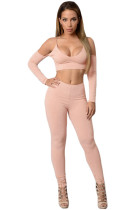 Nude Cut out Shoulder Crop Top Tight Pant Set
