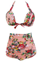 Floral Print Pinkish High Waist Bikini Swimsuit